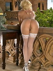 Brittany Andrews in Hard Nipples Victorian Fox in Lace Stockings on Balcony